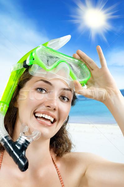 Snorkel bella ragazza bianco donne mare capelli Foto d'archivio © choreograph