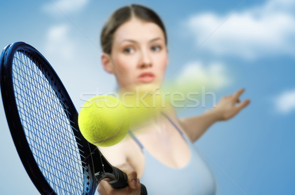 Sportlich Mädchen schönen spielen Tennis Frau Stock foto © choreograph