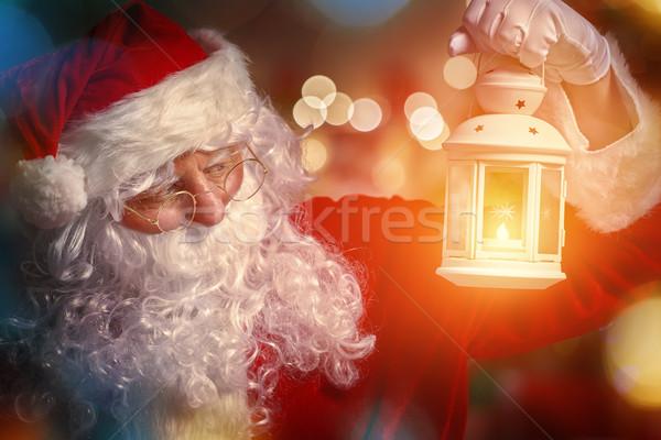 Papá noel retrato linterna mano feliz invierno Foto stock © choreograph