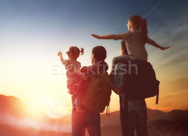 family at sunset Stock photo © choreograph