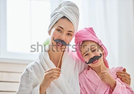 Moeder dochter make-up gelukkig liefhebbend familie Stockfoto © choreograph