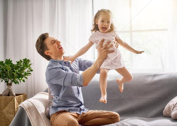 Daddy kind spelen gelukkig liefhebbend familie Stockfoto © choreograph
