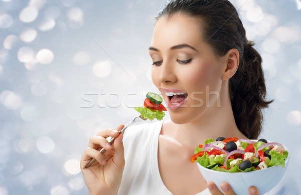 Sağlıklı beslenme gıda güzel kız kadın ağız portre Stok fotoğraf © choreograph