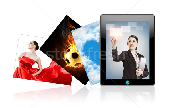 Tablet pc on the white background Stock photo © choreograph