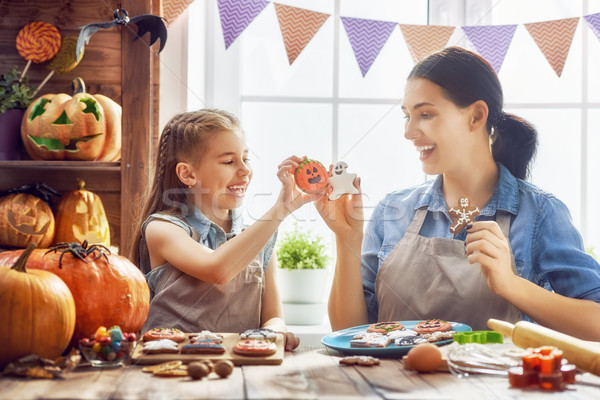 family preparing for Halloween. Stock photo © choreograph