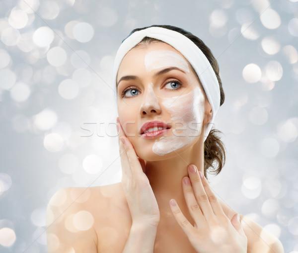 Kozmetikai maszk szépség nők lány kezek Stock fotó © choreograph