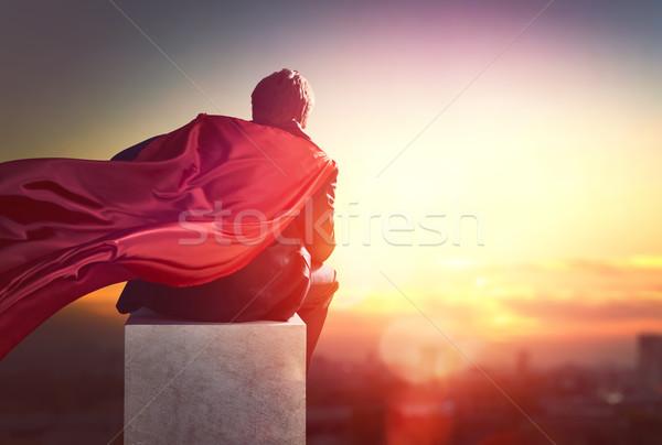 Superhero бизнесмен глядя город закат Сток-фото © choreograph