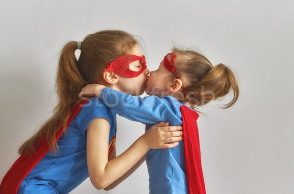Сток-фото: детей · играет · superhero · мало · дети · ярко
