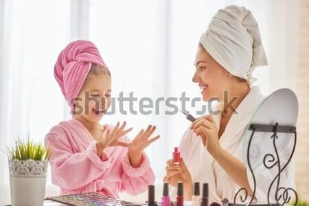 Boldog szerető család anya lánygyermek haj Stock fotó © choreograph