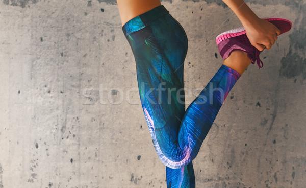 Sportolók láb közelkép fitnessz egészséges életmód sport Stock fotó © choreograph