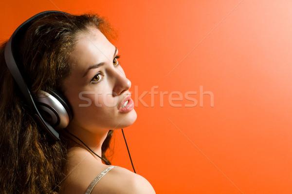 少女 ヘッドホン オレンジ パーティ ファッション 髪 ストックフォト © choreograph