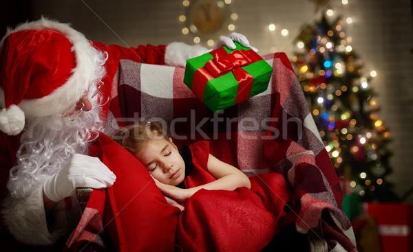 Stockfoto: Kerstman · verrassing · weinig · slapen · meisje
