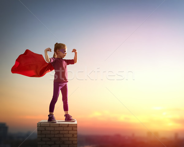 girl plays superhero Stock photo © choreograph