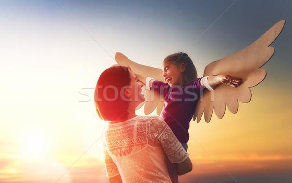 Stock fotó: Anya · gyermek · játszik · lánygyermek · együtt · kislány