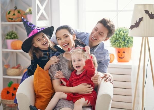 Familie halloween mamă tată copii Imagine de stoc © choreograph