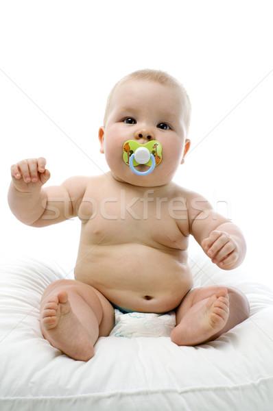 Szépség baba ül fehér szeretet szemek Stock fotó © choreograph