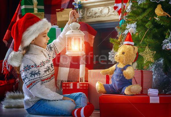 Natale celebrazione ragazza Hat giocare Foto d'archivio © choreograph