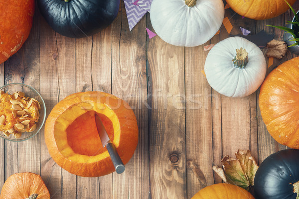 таблице счастливым Хэллоуин тыква домой Сток-фото © choreograph