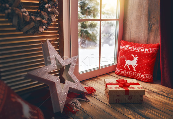Stock photo: window decorated for holidays