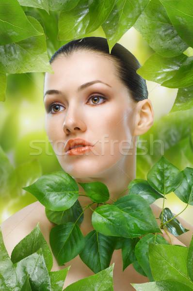 Stock foto: Schönheit · Porträt · Mädchen · Blätter · Gesicht · Blatt