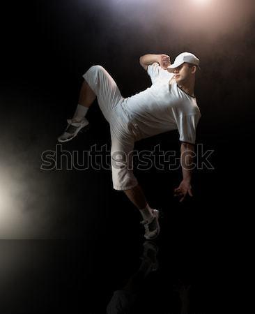 Modern fiatal szép férfi tánc zene Stock fotó © choreograph