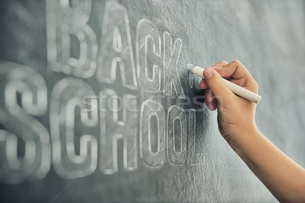 child is writing on blackboard Stock photo © choreograph