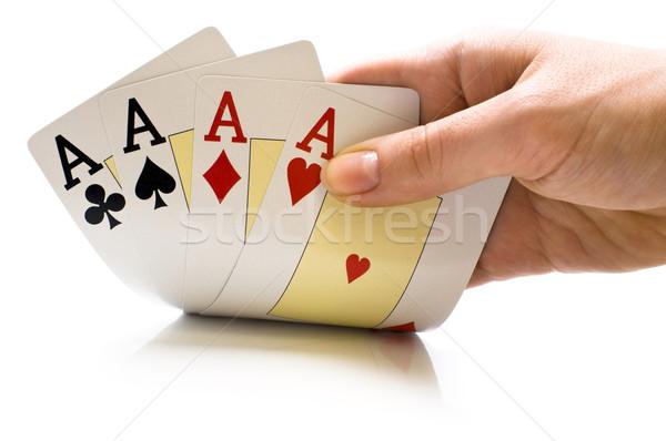 Cartas de jogar mão novo fundo diversão Foto stock © choreograph