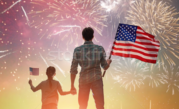 Stock photo: Patriotic holiday. Happy family