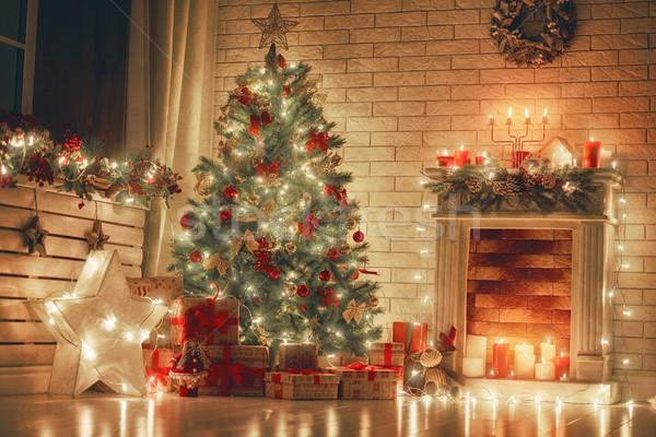 ストックフォト: ルーム · 装飾された · クリスマス · 陽気な · 明けましておめでとうございます · 美しい