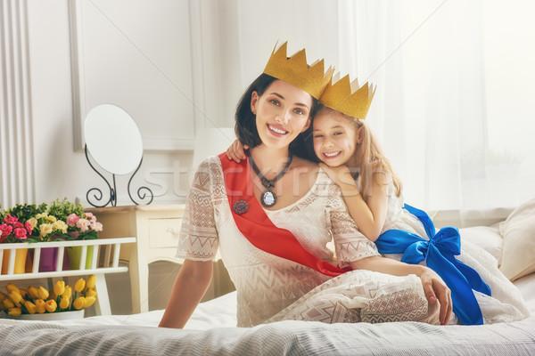 Królowej princess złota szczęśliwy kochający rodziny Zdjęcia stock © choreograph