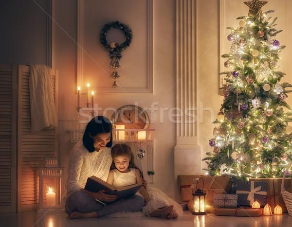 матери чтение книга веселый Рождества счастливым Сток-фото © choreograph