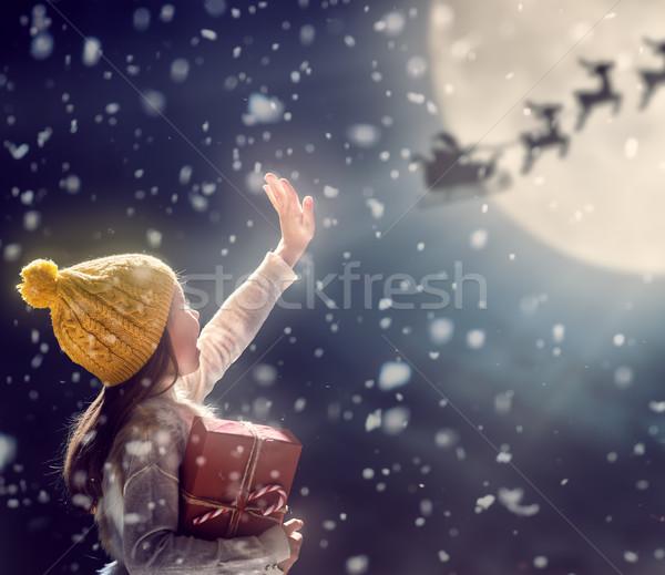 Criança escuro alegre natal feliz férias Foto stock © choreograph