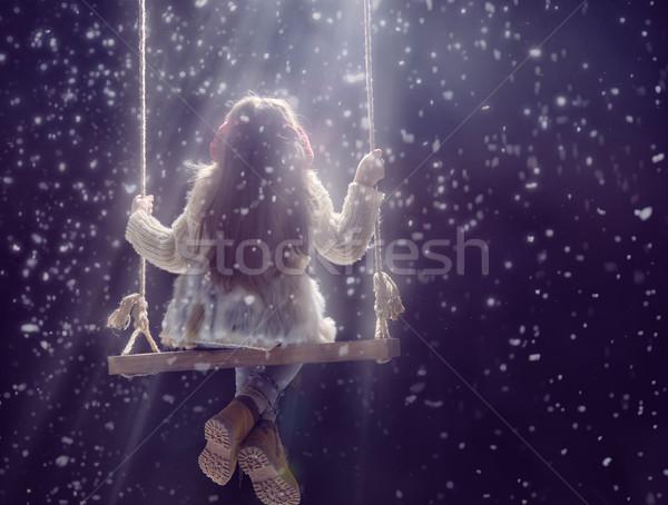 Criança escuro feliz criança menina jogar Foto stock © choreograph