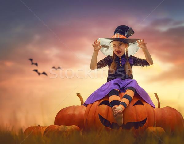 Cadı mutlu halloween sevimli küçük Stok fotoğraf © choreograph