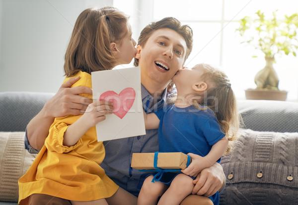 daughters congratulating dad Stock photo © choreograph