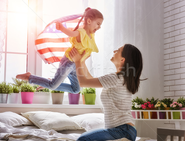 Stock photo: Patriotic holiday and happy family