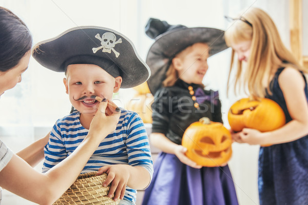 family prepares for Halloween Stock photo © choreograph