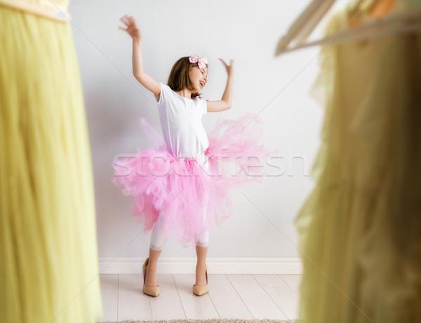 少女 ドレッシング アップ ホーム 幸せな女の子 面白い ストックフォト © choreograph