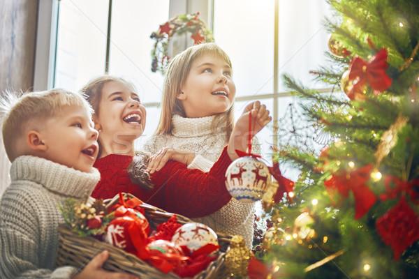 Stok fotoğraf: çocuklar · Noel · neşeli · mutlu · tatil · sevimli