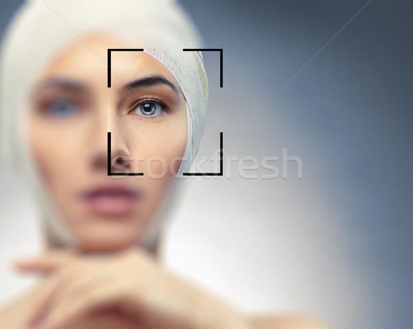 Foto stock: Beleza · mulher · azul · olho · saúde · medicina
