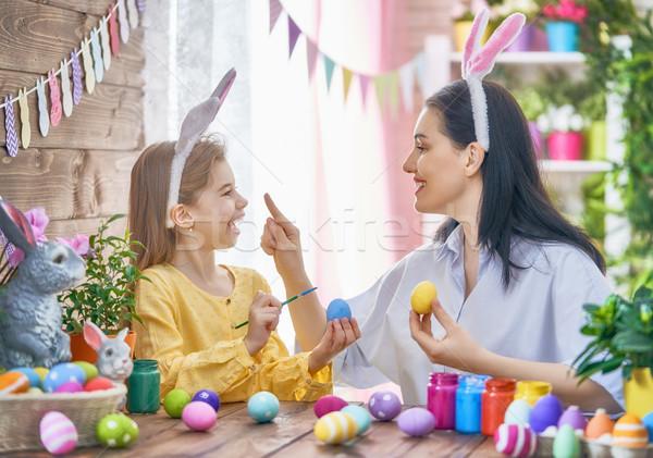 Family preparing for Easter Stock photo © choreograph