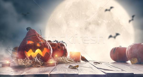 Nieba szczęśliwy halloween drewniany stół księżyc Zdjęcia stock © choreograph