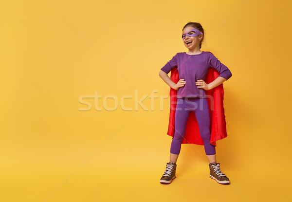 Stok fotoğraf: çocuk · oynama · süper · kahraman · küçük · çocuk · parlak