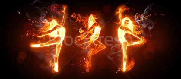 Fuoco dance ballerini nero ragazza moda Foto d'archivio © choreograph