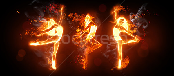 Fuego danza bailarines negro nina moda Foto stock © choreograph