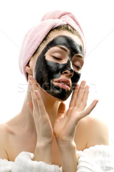 Cosmetische masker schoonheid jong meisje gezicht Stockfoto © choreograph