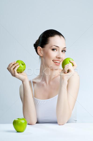 Alimentación saludable alimentos hermosa esbelto nina sonrisa Foto stock © choreograph