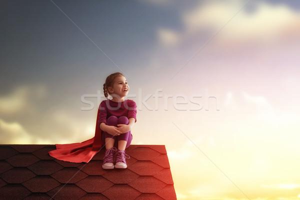 child plays superhero Stock photo © choreograph