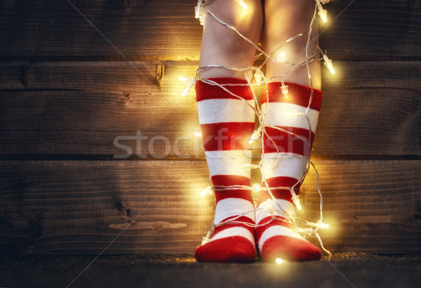 feet in red and white socks Stock photo © choreograph