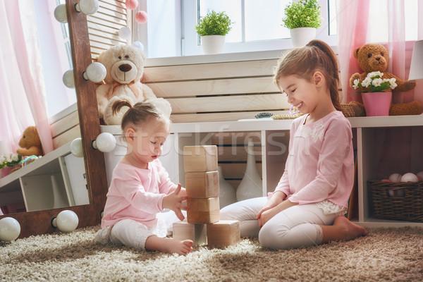 ストックフォト: 子供 · 演奏 · ブロック · 2 · かわいい